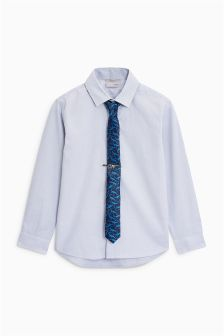 Long Sleeve Shirt And Dinosaur Print Tie (3-16yrs)