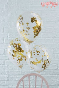 Set Of 5 Ginger Ray Gold Confetti Balloons