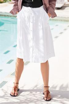 Button Through Linen Rich Skirt