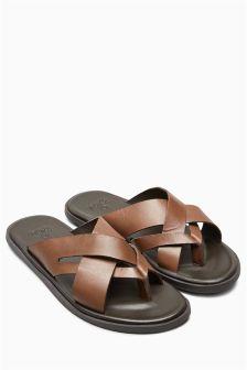 Leather Cross Strap Flip Flop