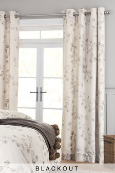 Natural Seed Pod Blackout Lined Eyelet Curtains