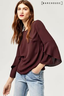Warehouse Berry Ruffle Sleeve Top