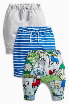 印花运动裤三件装 (0个月-2岁)