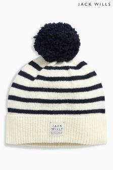 Jack Wills Stripe Faux Fur Pom Pom Hat
