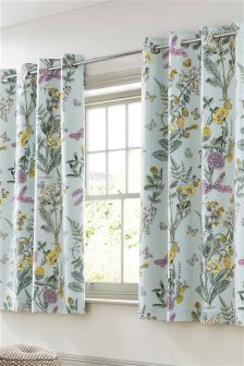 Orchard Floral Blackout Lined Eyelet Curtains