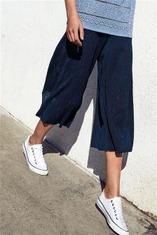 Cropped Wide Leg Plisse Trousers