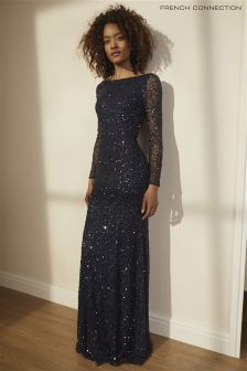 French Connection Dark Blue Helen Sparkle Long Sleeve Maxi Dress
