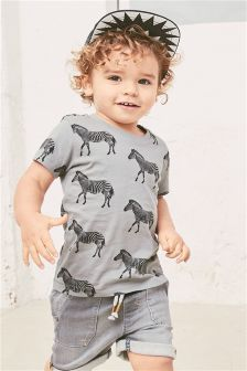 Zebra Printed Short Sleeve T-Shirt (3mths-6yrs)
