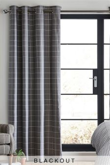 Windowpane Check Blackout Lined Eyelet Curtains