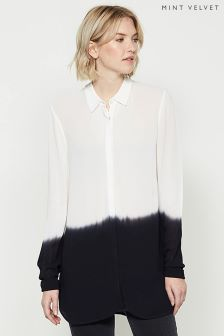 Mint Velvet White Ombre Longline Shirt