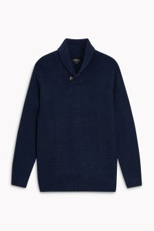 Ribbed Shawl Neck Sweater