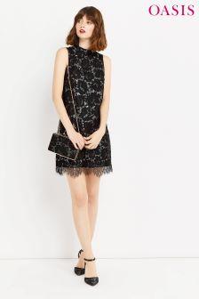Oasis Silver Metallic Lace Shift Dress