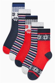Fairisle Pattern Socks Five Pack (Older Boys)