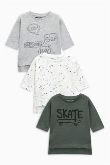 Skate And Splat Long Sleeve T-Shirts Three Pack (3mths-6yrs)