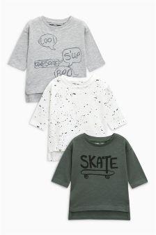 Skate And Splat Long Sleeve T-Shirts Three Pack (3mths-6yrs)