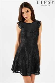 Кружевное короткое приталенное платье Lipsy