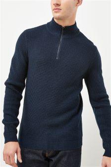 Текстурированный свитер с воротником на молнии