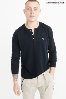 Abercrombie & Fitch Navy Long Sleeve Henley