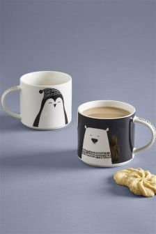 Set Of 2 Polar Bear And Penguin Mugs