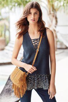 Lace Up Woven Hem Knit Vest