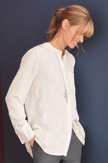 Удлиненная атласная рубашка