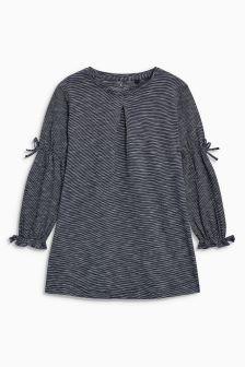 Tie Sleeve Long Sleeve Jersey Dress (3-16yrs)