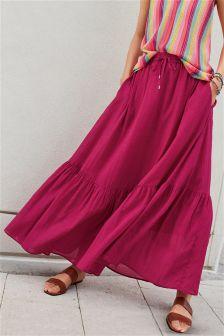 Tiered Hem Maxi Skirt