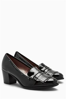 Block Heel Fringe Loafers