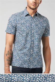 Рубашка с короткими рукавами и цветочным принтом