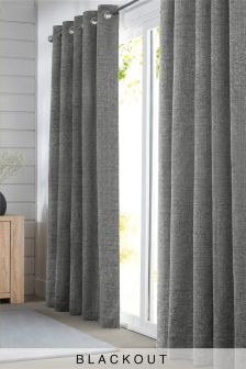 Silver Textured Chenille Eyelet Blackout Curtains