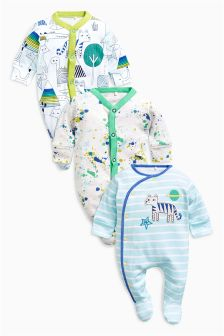 Bright Character Sleepsuits Three Pack (0mths-2yrs)
