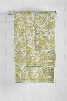 Жаккардовые полотенца цвета лайма с цветочным рисунком
