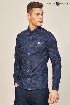 Pretty Green Horlock Long Sleeve Polka Dot Shirt
