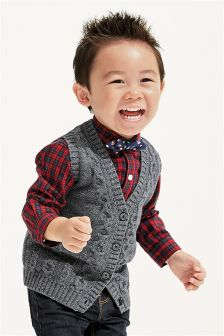 Boys Cable Waistcoat, Shirt And Bow Tie Set (3 мес.-6 лет)