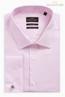 Signature Premium Fabric Regular Fit Double Cuff Shirt With Cufflinks