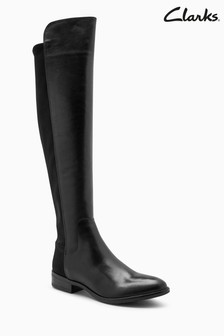Clarks Black Leather Caddy Belle Turn Collar Boot