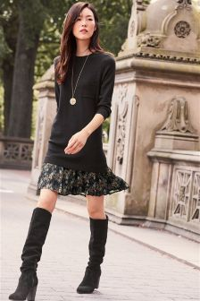 Woven Hem Jumper Dress