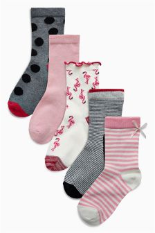Flamingo Socks Five Pack (Younger Girls)