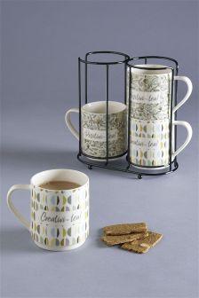 Set Of 4 Blake Stacking Mugs