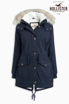 Hollister Navy Faux Fur Hood Parka