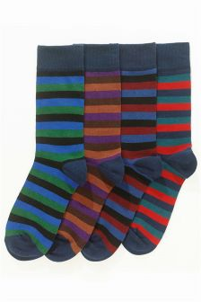 Block Stripe Socks Four Pack