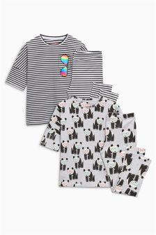 Набор пижам облегающего кроя с пандами (2 пары) (3-16 лет)