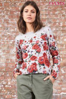 Oasis Grey Bloom Print Jumper