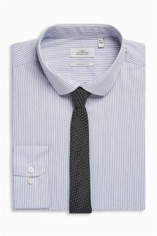 Striped Regular Fit Shirt And Tie Set