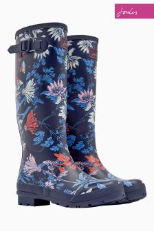 Joules Navy Floral Printed Welly