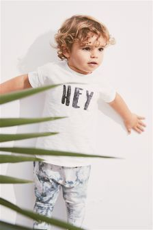 Hey Short Sleeve T-Shirt And Marble Joggers Set (3mths-6yrs)
