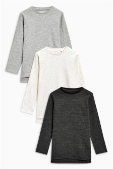Long Sleeve Waffle T-Shirts Three Pack (3-16yrs)