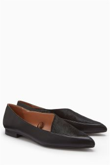 Material Mix Point Loafers