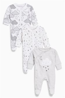 Fluffy Cloud Sleepsuits Three Pack (0mths-2yrs)