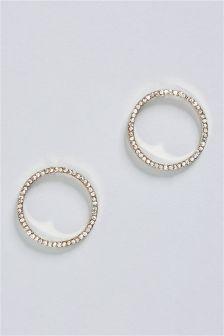 Sparkle Open Circle Hoop Earrings